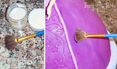 Princess Rapunzel barbie birthday cake tutorial edible luster dust glitter