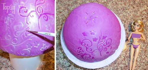 Princess Rapunzel barbie birthday cake tutorial skirt