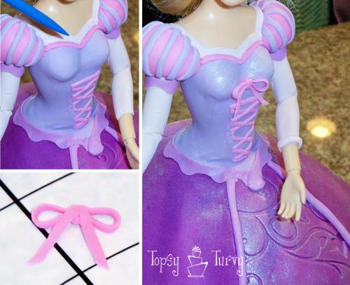 Princess Rapunzel barbie birthday cake tutorial bow