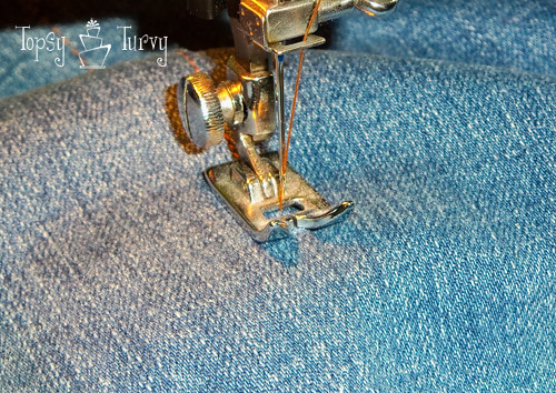 bootcut to skinny jean makeover upcycled sewing inside details
