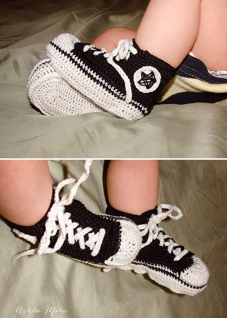 Everyone loves baby chuck's, this is a free crochet pattern to make your own infant converse