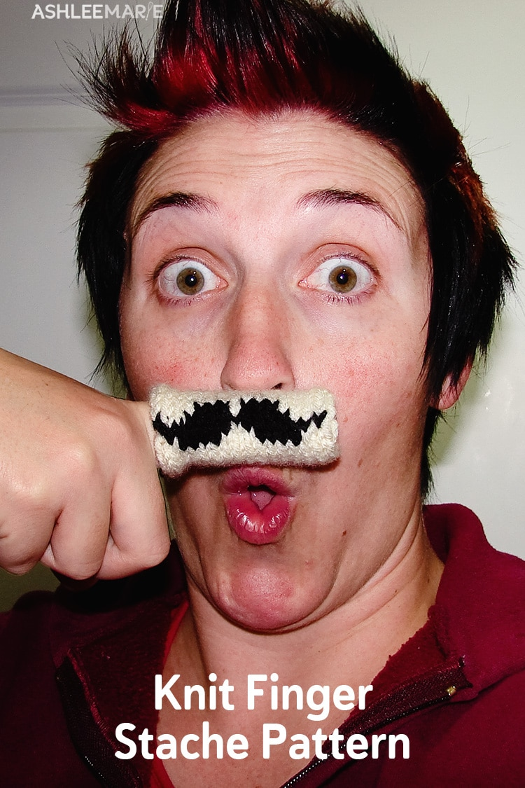 knit finger stache pattern