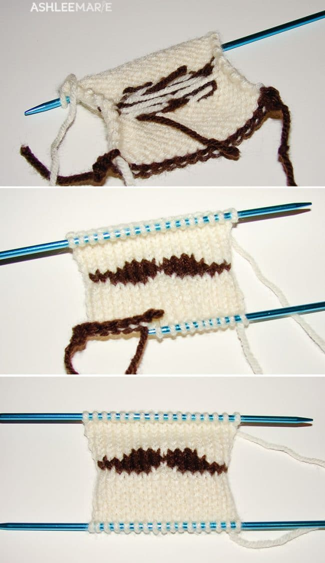 take out the crochet and place loops on needle