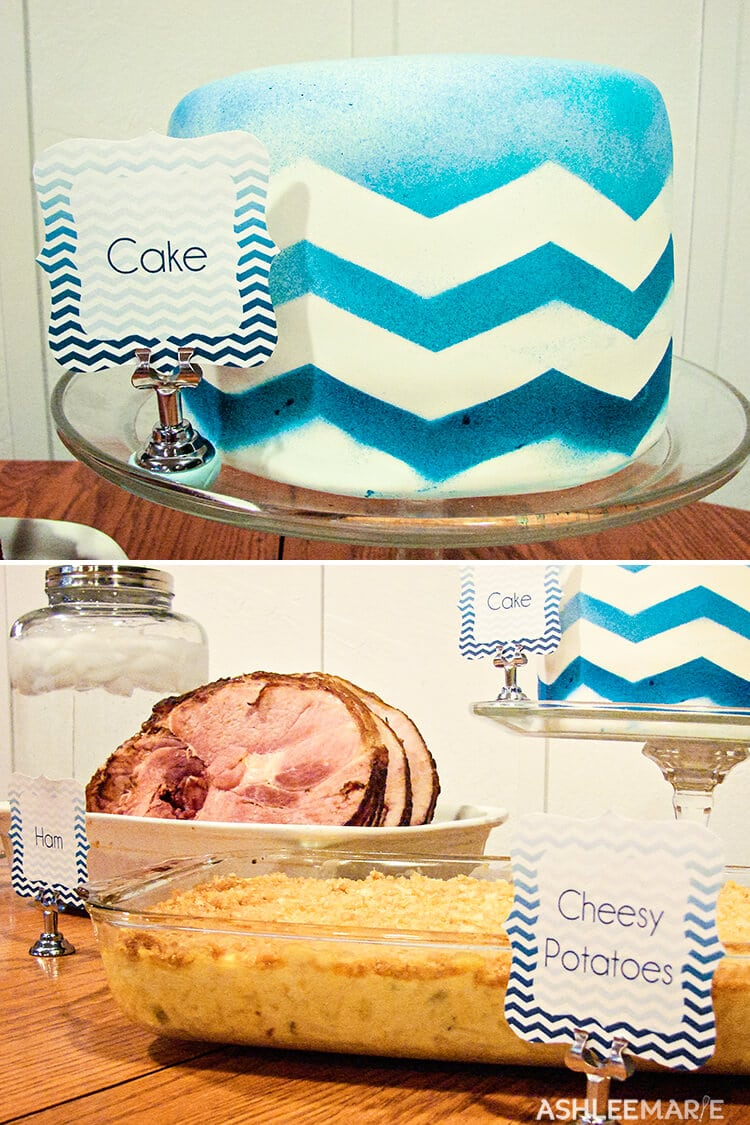 blue chevron ombre party labels