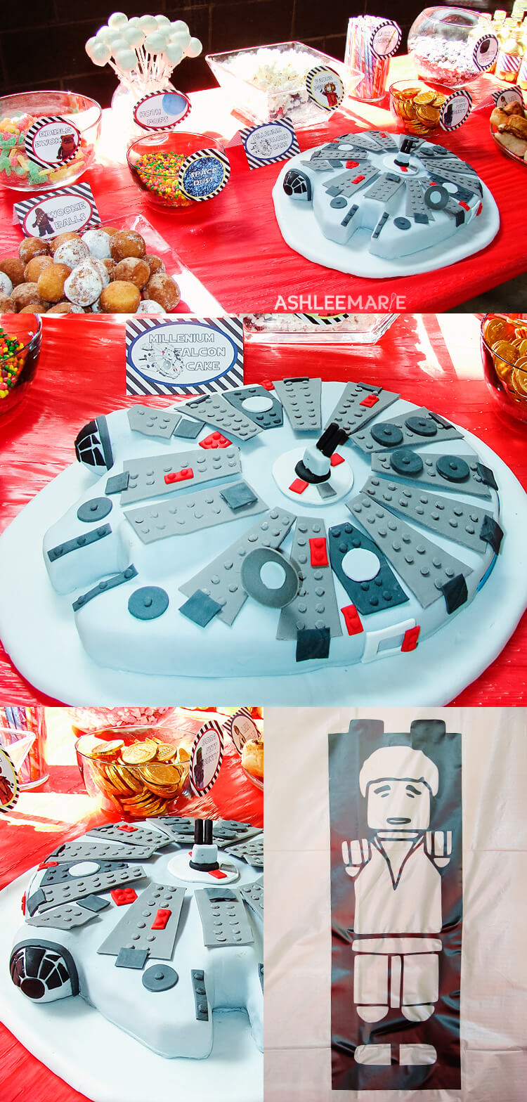 lego star wars millenium falcon cake and party food