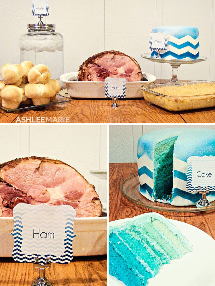 ombre chevron party labels