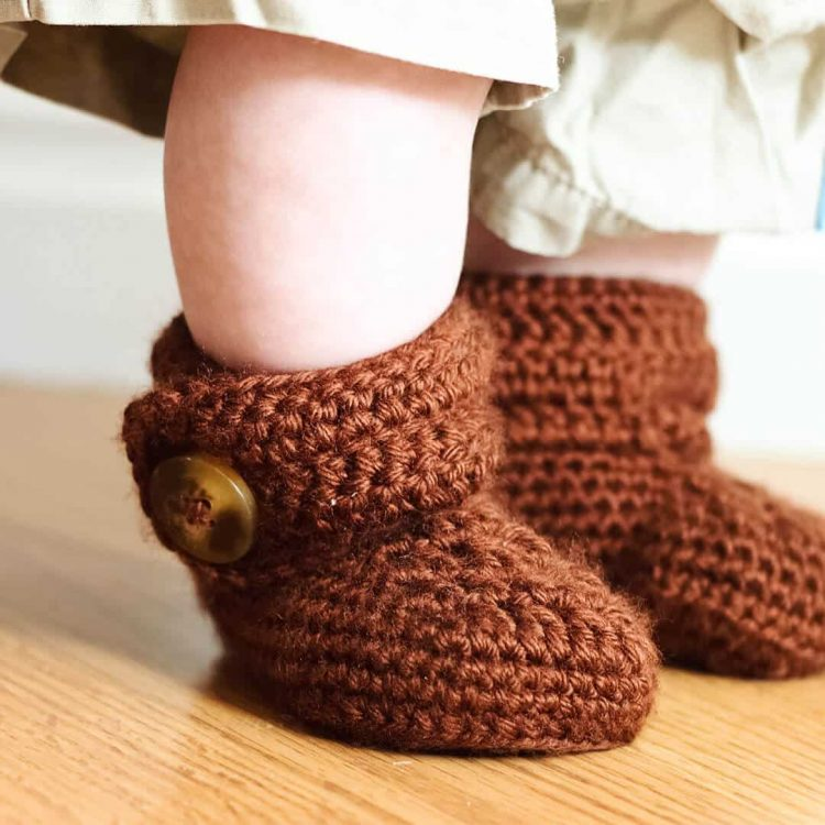 crochet wrap button baby boots for girls and boys