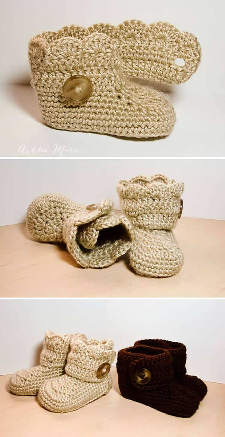 boy and girl finished version, wrap around baby and infant boots, free crochet pattern