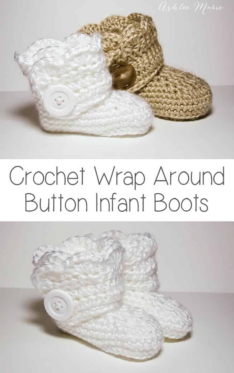 Crochet wrap around button infant boots- girls and boys | Ashlee ...