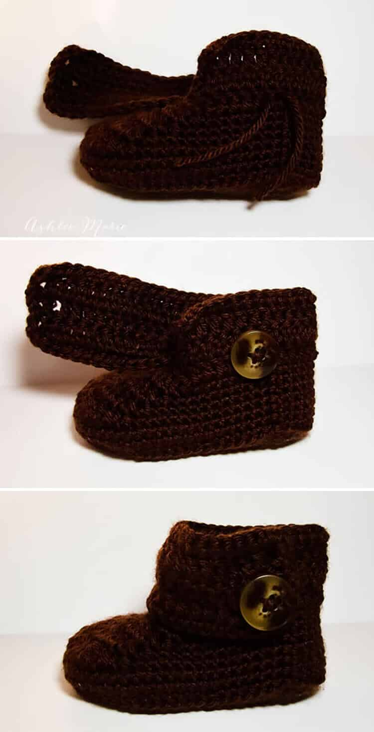 1905d22e5620e Crochet wrap around button baby boots- girls and boys | Ashlee Marie ...