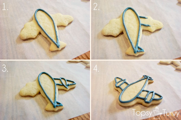 airplane-cookies-color-flow-method-outline