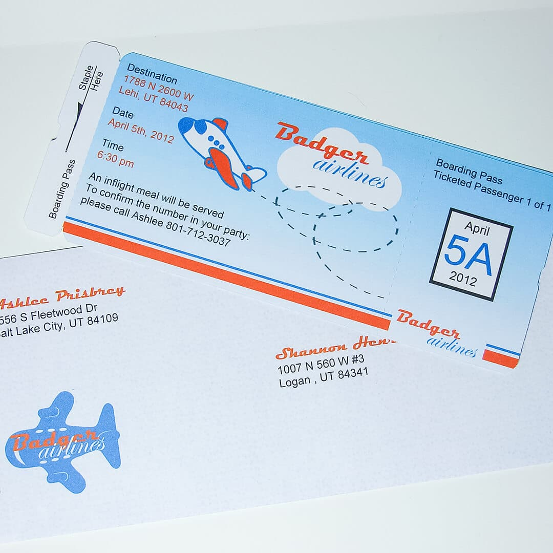 Airplane Baby Shower Boarding Pass Invitations Ashlee Marie Real