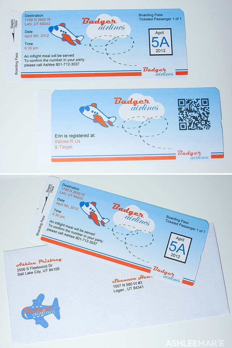 airplane party boarding pass invitation