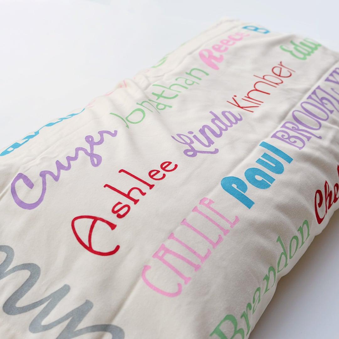family name pillow case
