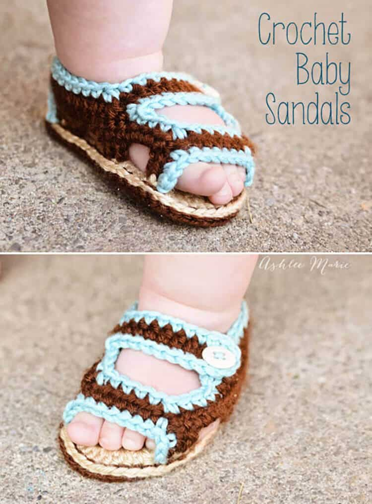 Crochet Baby Toe Sandals Free Pattern : Crochet Baby Sandals Ashlee Marie