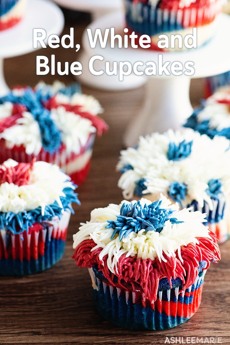red, white and blue cupcakes
