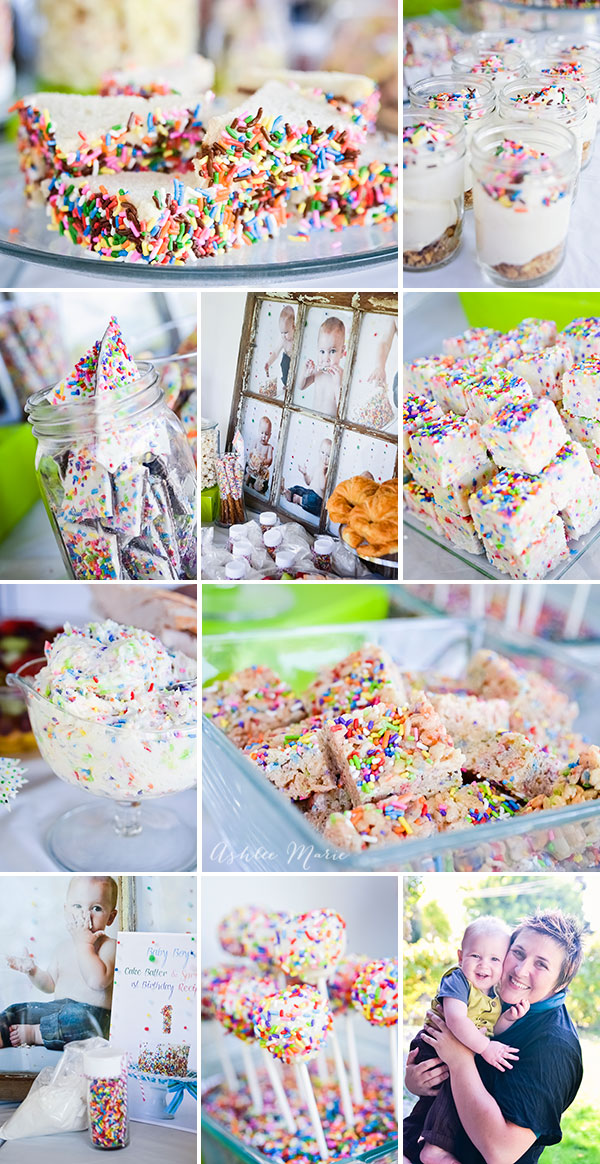 how many cake mix and sprinkles recipes can you come up with? This first birthday party had over 12 recipes and fun decorations and favors