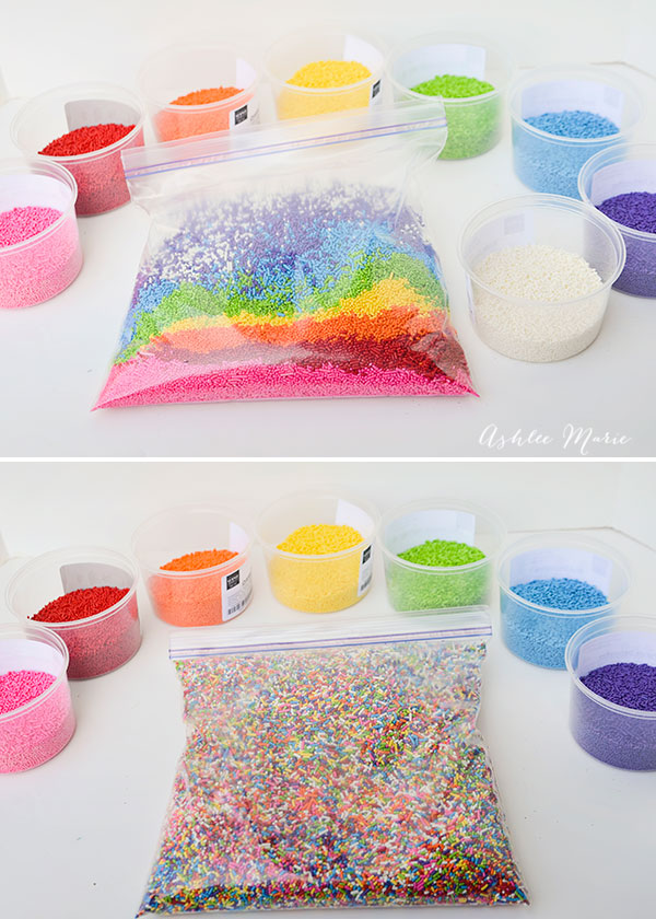 pour equal amounts of each color into a bag and shake!