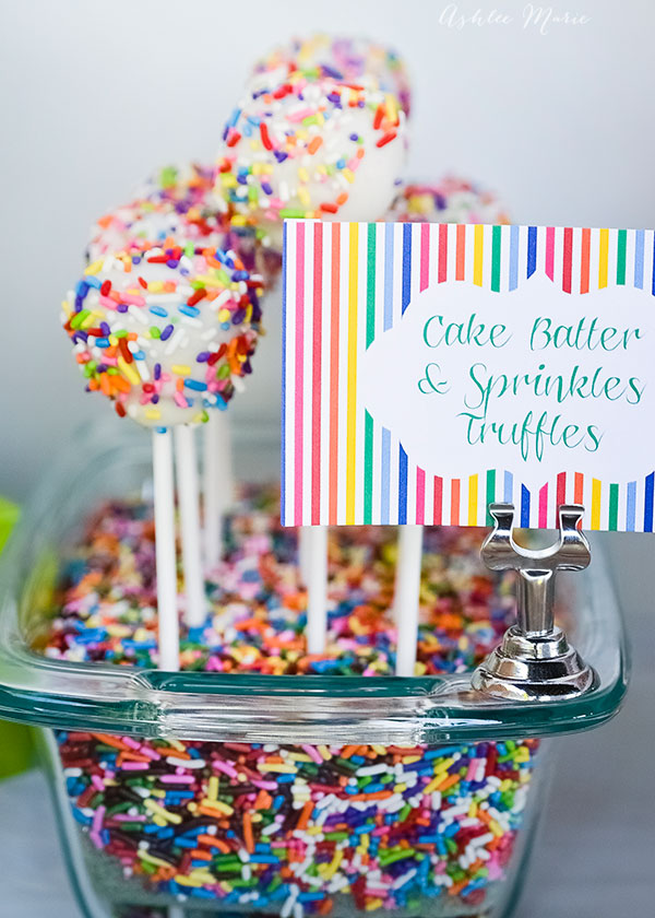 cake mix and sprinkles truffles