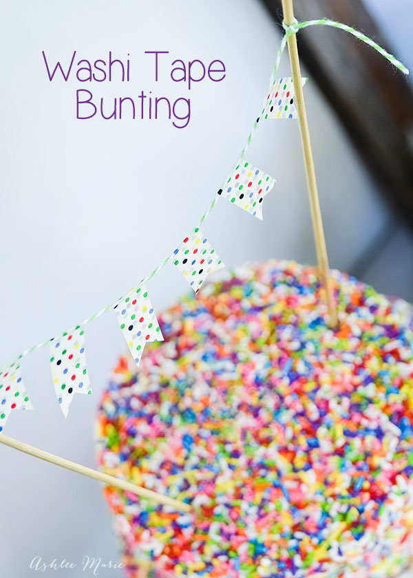 using washi tape and bakers twine to create small bunting is a simple way to dress up a cake.
