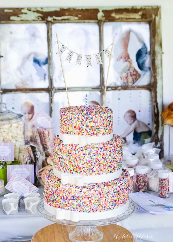 The centerpiece of our babies first birthday party was this sprinkle covered three tier cake