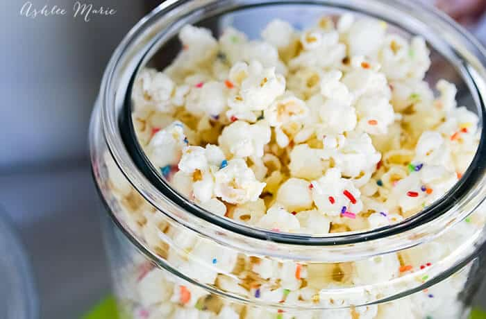 Cake Mix & Sprinkles Chocolate Popcorn | Ashlee Marie