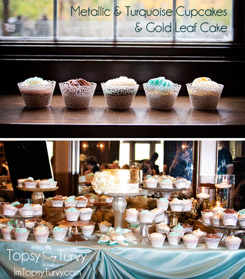 metallic-turquoise-cupcakes-gold-leaf-cake-wedding