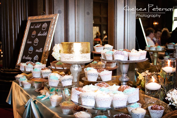 gold-leaf-cake-wedding-cupcakes-metallic-turquoise-table