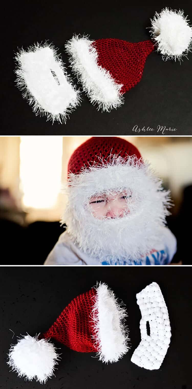 I originally tried fuzzy yarn, then the bobble, but the double loop just works best for these bearded santa hats