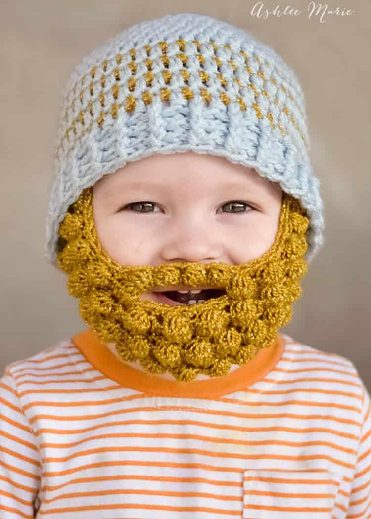 babies look sooo cute in bobble bearded beanies, free pattern