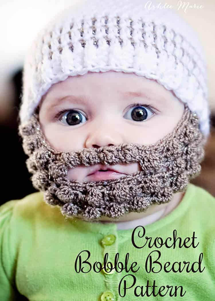 ba6c8bf55 free pattern for a crochet bobble beard to attach to your favorite beanie,  extra small