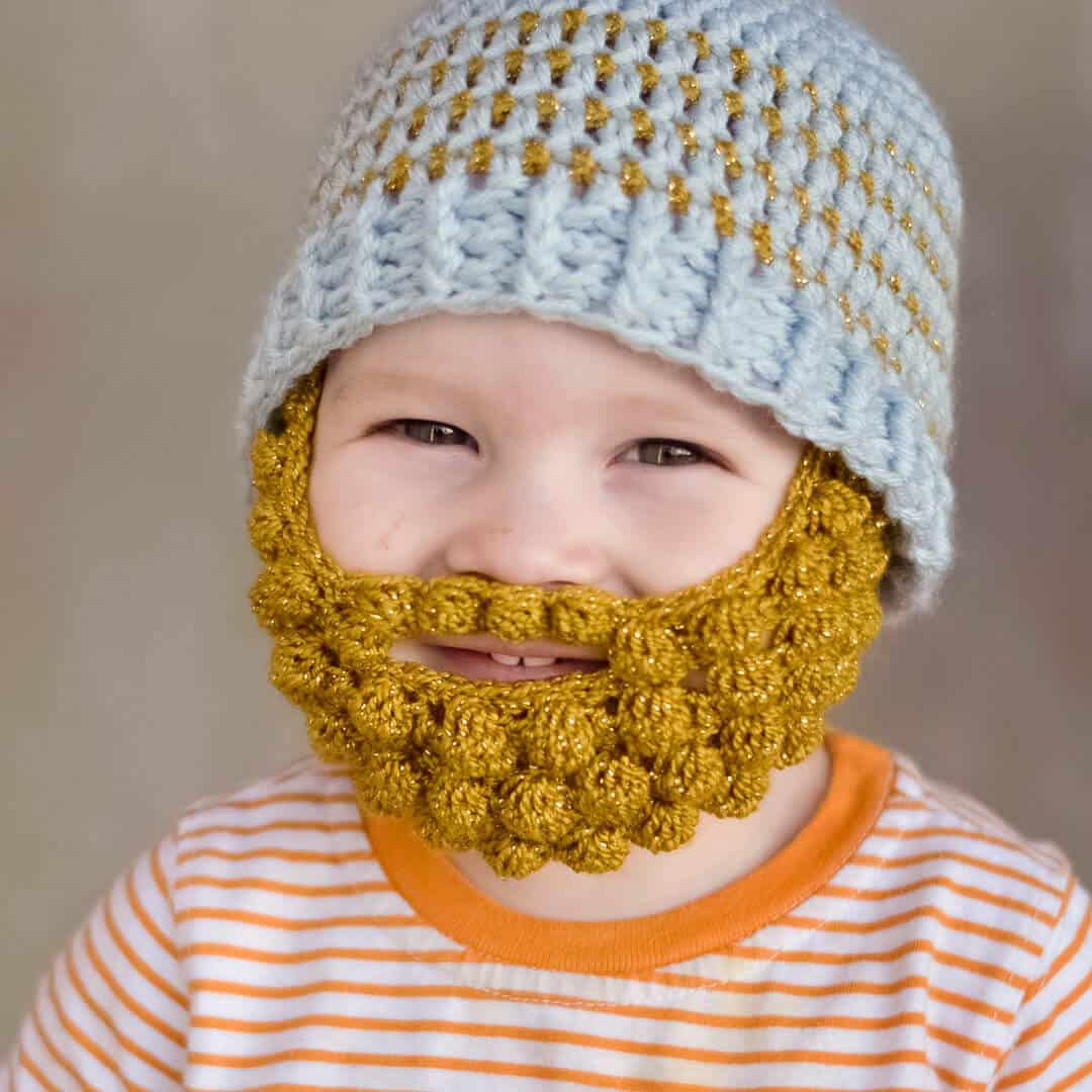 free pattern for a crochet bobble beard to attach to your favorite beanie