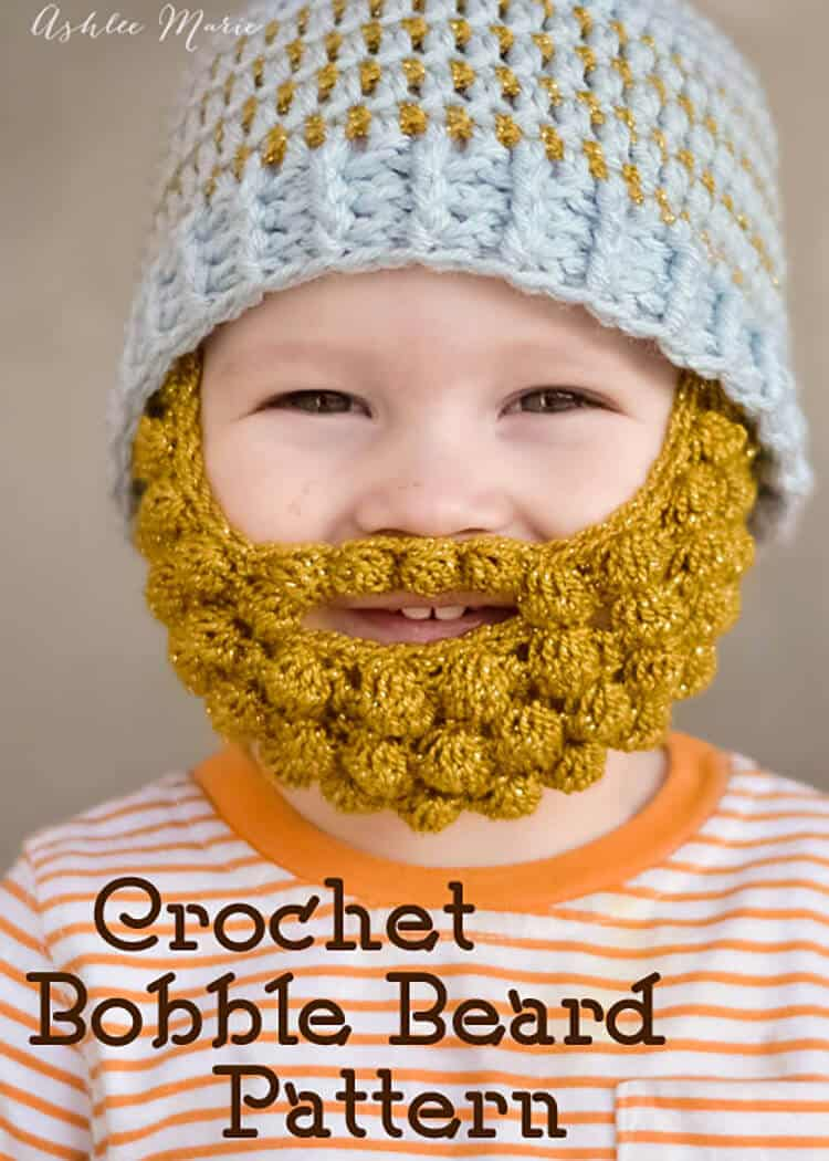 free pattern for crochet bobble beards, in 4 sizes