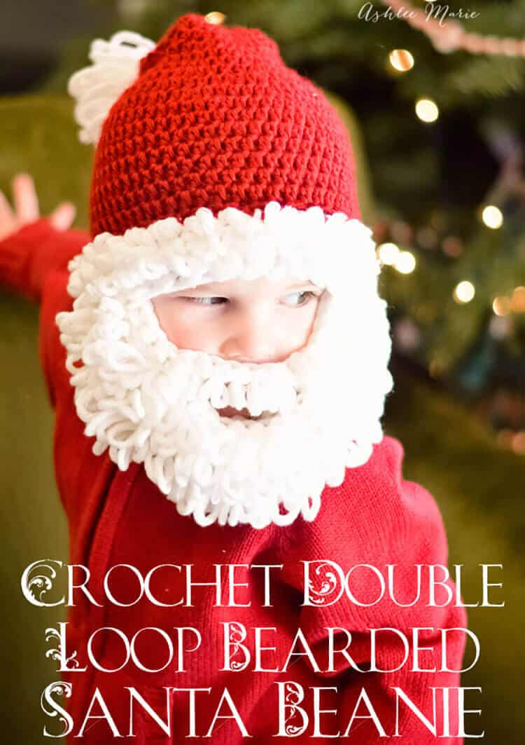 Double loop crochet santa beard pattern multiple sizes ashlee free pattern for this crochet double loop bearded santa beanie bankloansurffo Images
