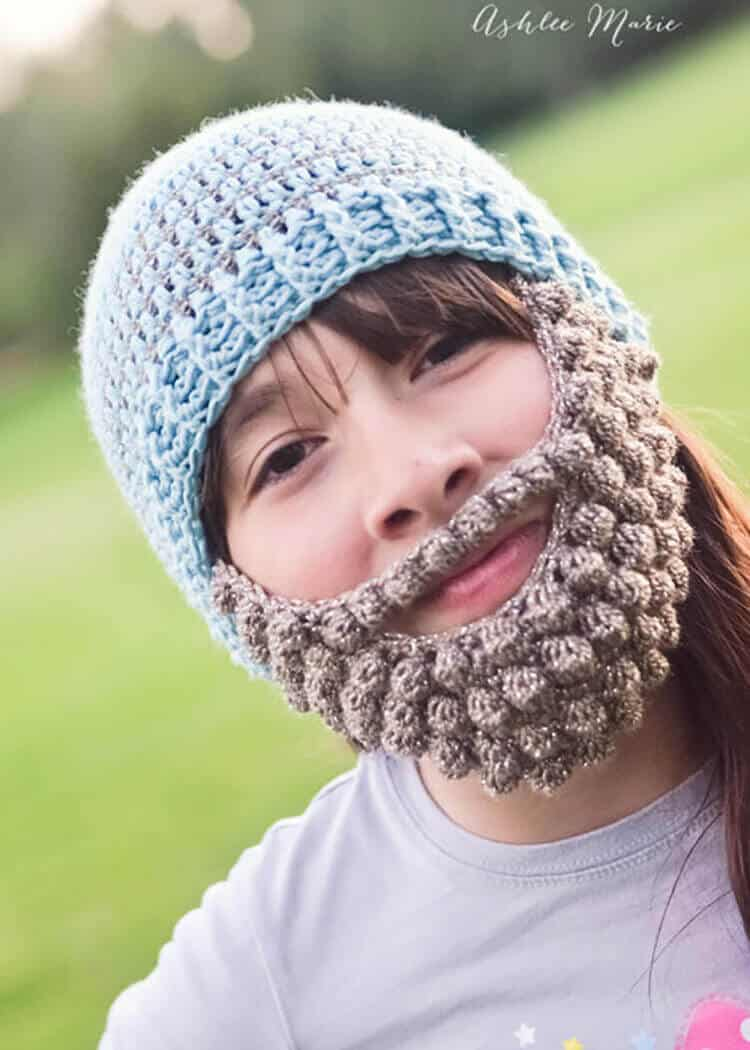 Crochet bobble beard pattern multiple sizes ashlee marie on cold winter days everyone loves a bearded beanie bankloansurffo Images