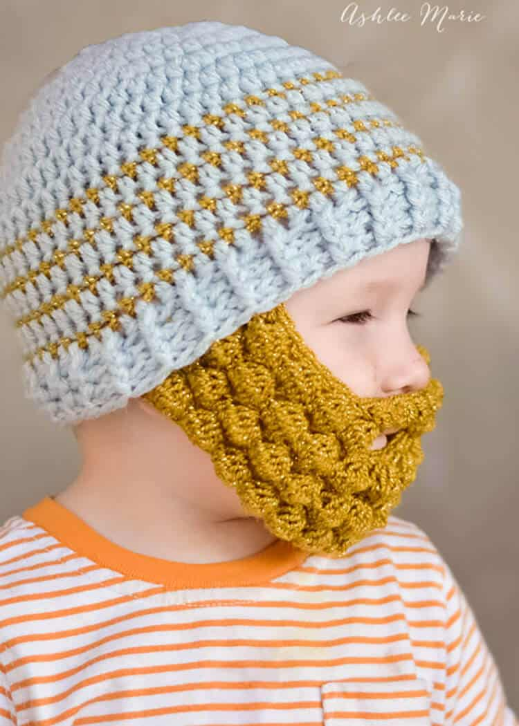 you can see where I attached the beard in this picture, free crochet pattern