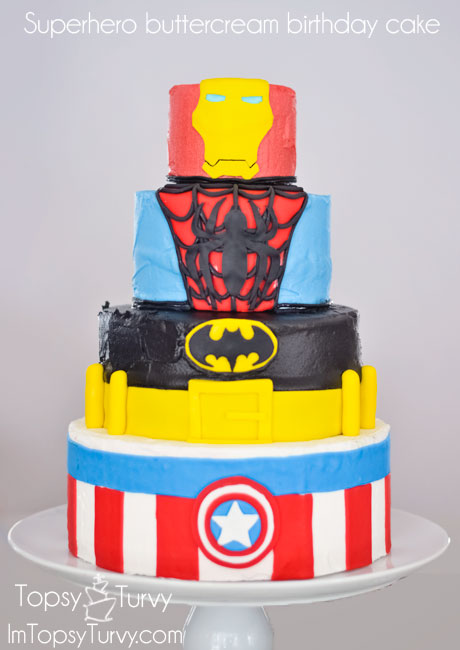 super-hero-buttercream-cake-fondant-iron-man-spiderman-batman-captian-america