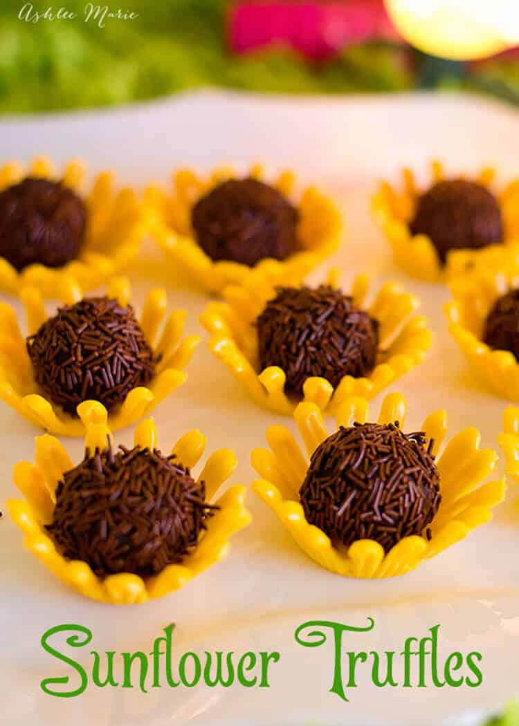 how to easily make these chocolate sunflower truffles