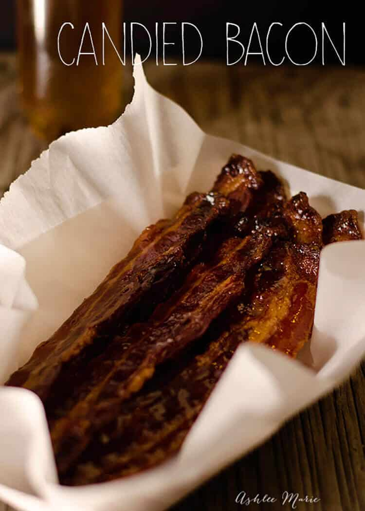 making candied bacon is easy and delicious. I love it plain, in cupcakes, on donuts, and even top ice cream with it