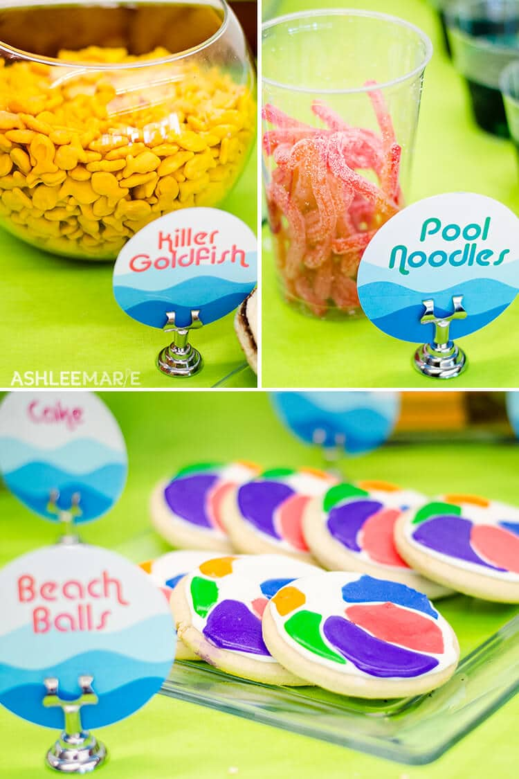 pool party cookies and food