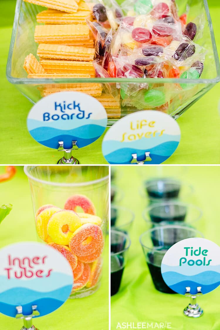 pool party treats and labels