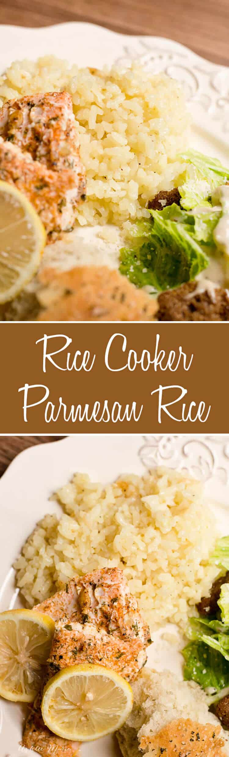 this easy and delicious parmesan rice is cheesy goodness made with butter, garlic, and onions