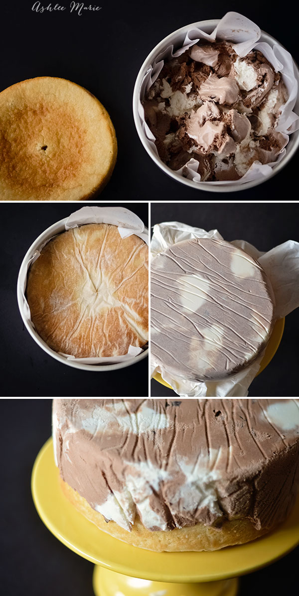 you can use any flavor of cake or ice cream to create these layers