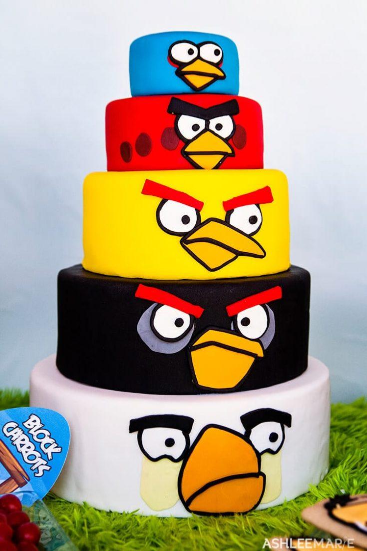 Awe Inspiring Angry Birds Birthday Cake Ashlee Marie Real Fun With Real Food Birthday Cards Printable Nowaargucafe Filternl