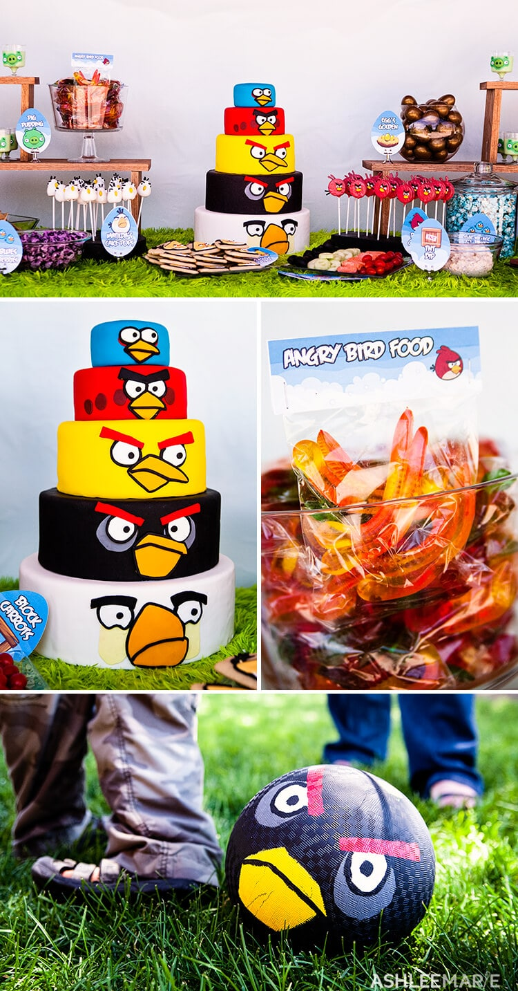 angry bird birthday cake and favors