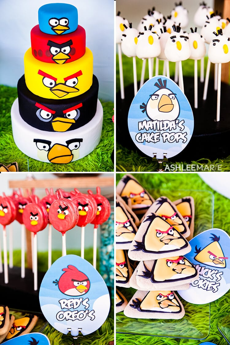 angry bird cake, cake pops, cookies and more