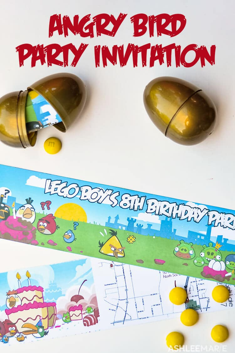 golden egg angry bird party invitation