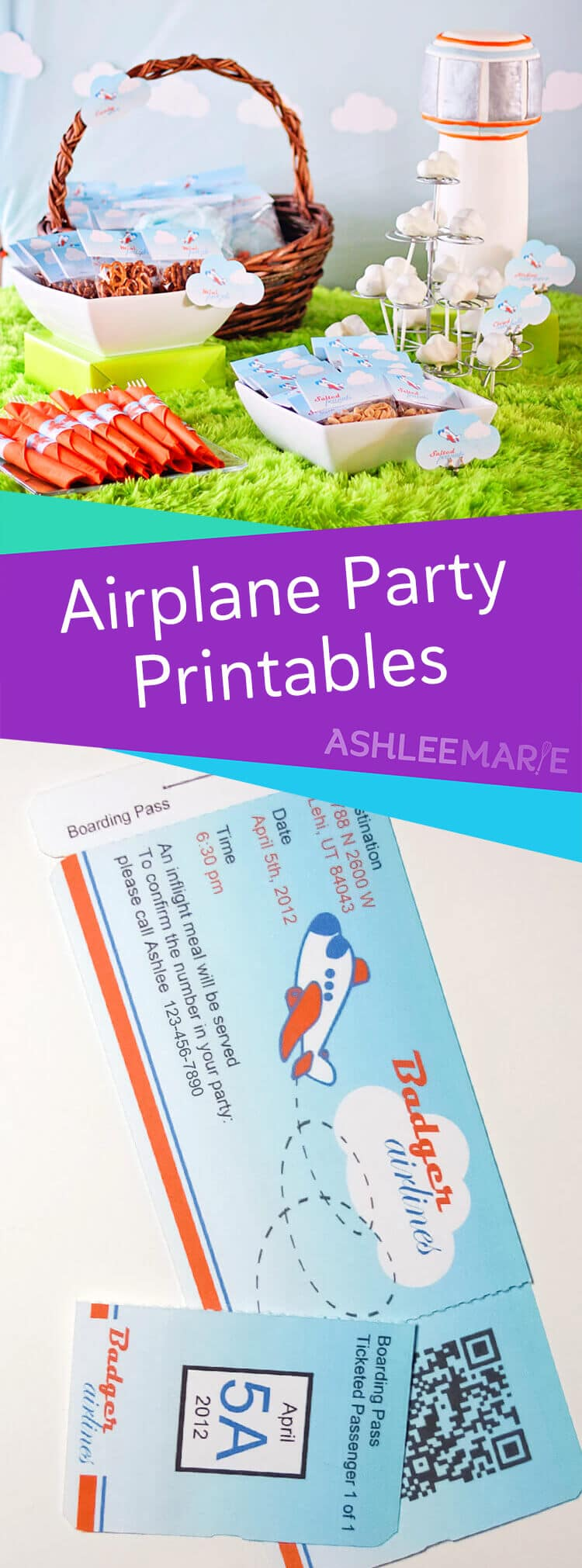 airplane boarding pass inivations and party printables