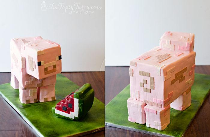 minecraft-cake-tutorial-pig-face-watermelon