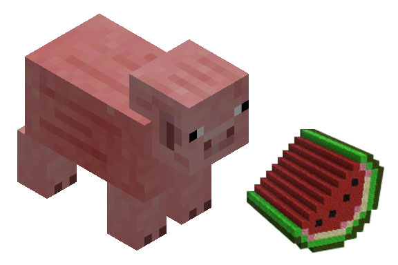 minecraft-pig-and-watermelon